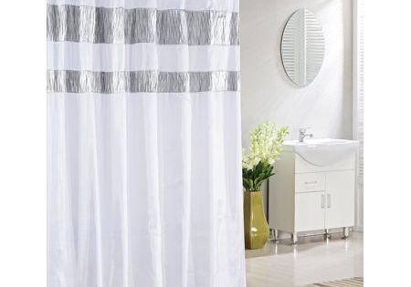 Bathroom And More Collection Extra Long Pure White Fabric Shower