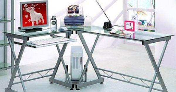 L Shaped Computer Desk Silver Clear Techni Mobili Glass Computer Desks Computer Desk Home Office Furniture