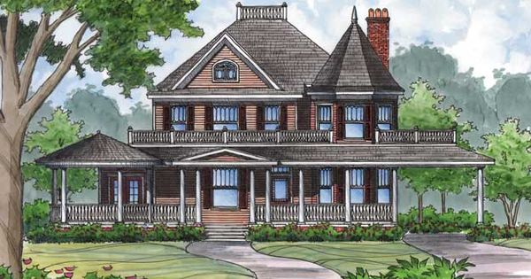 Charming gazebo and turret adds character to this for Victorian house plans with turrets