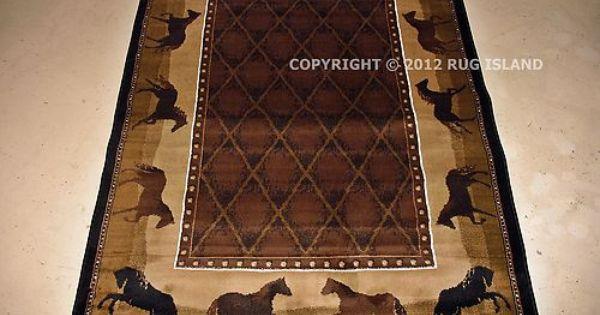 Cowboy Horses Rug Rugs Black Decor Western Rugs