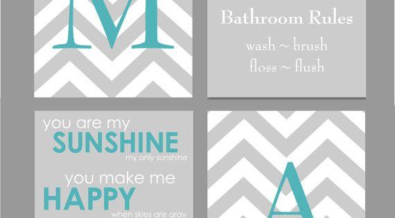 Teal and gray bathroom art home decor prints you are by for Teal and gray bathroom accessories