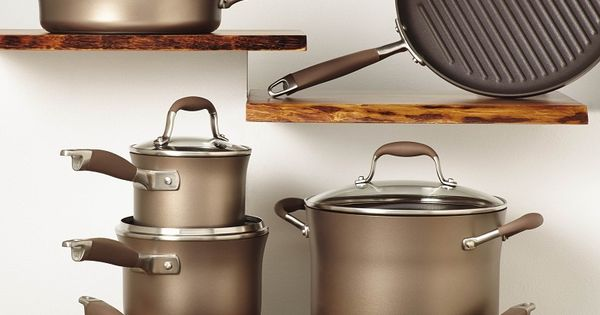 anolon advanced bronze 11 piece cookware set with bonus bronze cookware set weber grill and. Black Bedroom Furniture Sets. Home Design Ideas