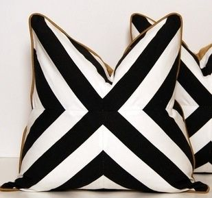 Mitered Stripes Would Be Fun To Try With Bright Pink Piping Graphic Pillow Black White Gold Geometric Throw Pillows