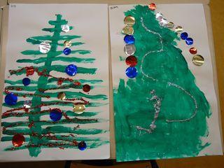 Een Kerstboom Laten Verven En Daarna Laten Versieren Met Ballen Knutselen Thema Feest Kerst Kerst Knutselen