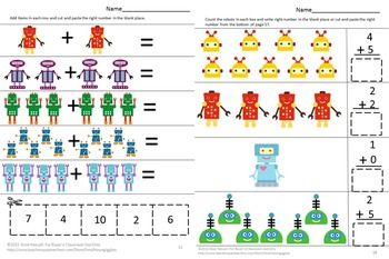 These Robot Themed Math Worksheets Will Help Students In Preschool Kindergarten Special Ed And Autisti Preschool Math Centers Math Centers Kindergarten Math