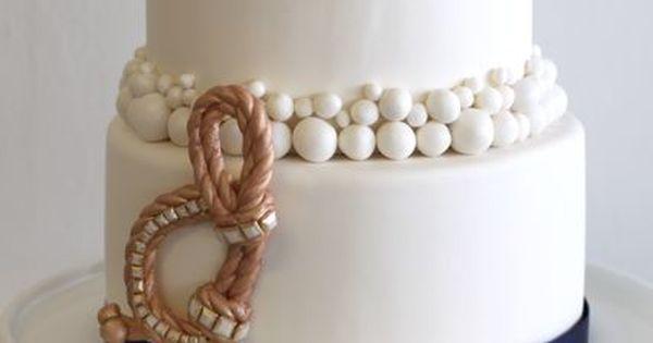 """Tying the knot"" Beach | Nautical Wedding cake idea."