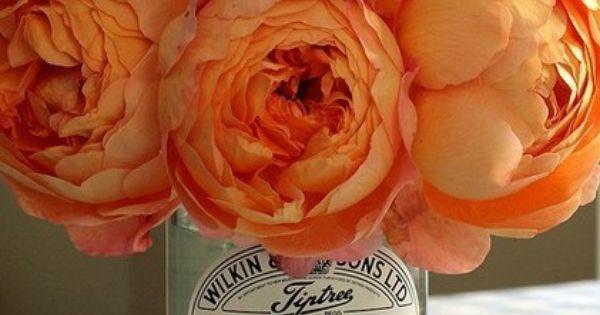 Peach Peonies + Vintage Jars