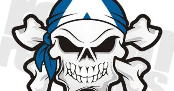 Scotland Flag Bandana Scottish Skull Crossbones Sticker
