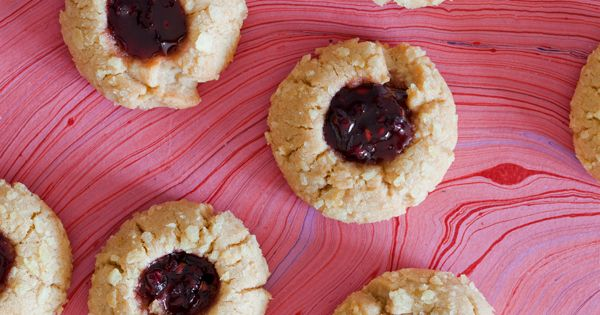 Peanut Butter and Jelly Thumbprint Cookies Rolled in Crushed Potato Chips by