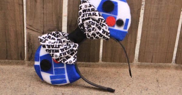 R2D2 STAR WARS Mouse Ear Headband w/ Bow ****This Item Will Ship