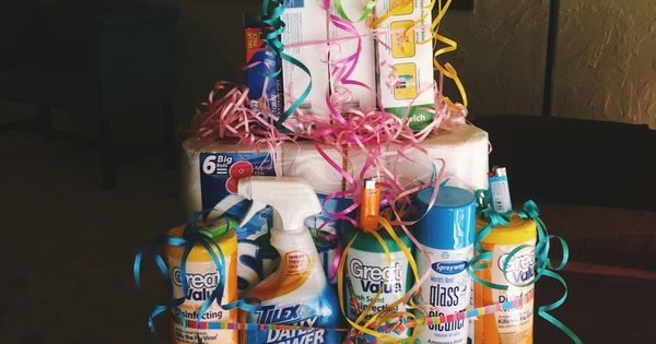 "A ""cake"" made from cleaning supplies — great gift for someone moving"