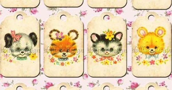 ETSY: Kawaii Vintage Baby Animals Gift Tags (Printable Digital Download)