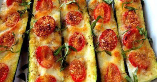 Zucchini pizza (or zucchini boats) Just cut a zucchini in half lengthwise