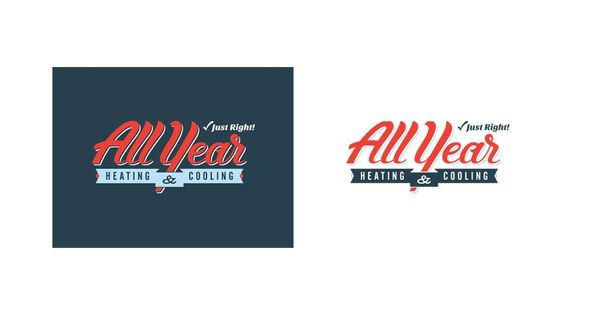 All Year Heating Cooling Logo Tilted Chair Creative Branding