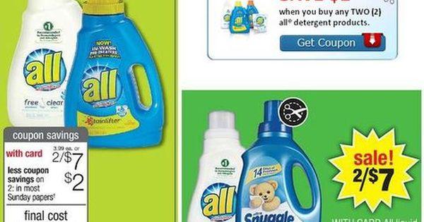 New 2 2 All Detergent Coupon 1 67 At Cvs Walgreens Deal