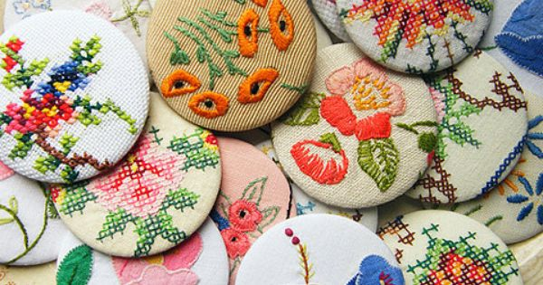 Repurposed vintage embroidery would make cute covered