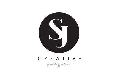 Sj Letter Logo Design With Black Circle And Serif Font Https Www Kznwedding Dj Text Logo Design Simple Logo Design Letter Logo Design