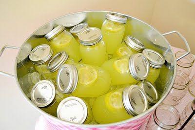 Drink - Party Ideas - Lemonade mason jar drinks. Love this for