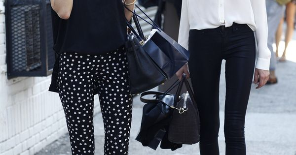 Polka dot pants Black pants, white shirt