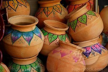 clay pot indian art Hand Painted Clay Pots  Hand painted Indian clay pots.  Clay