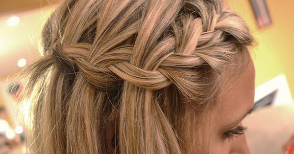 Side braid into waterfall braid