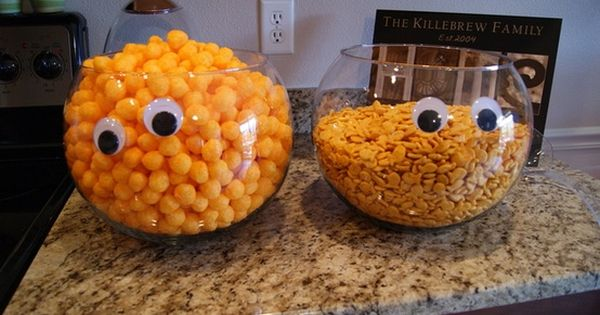DIY Monster Bowls : add Googly eyes to the serving bowls to
