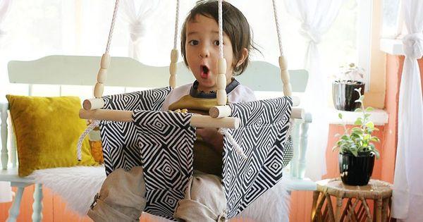 baby toddler swing diy diys and crafts pinterest beautiful outdoor schaukeln und stoffe. Black Bedroom Furniture Sets. Home Design Ideas