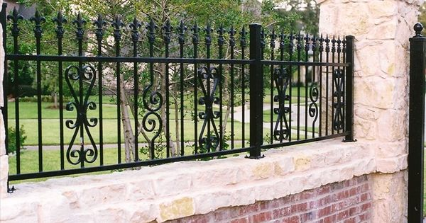 Brick and wrought iron fence fences and gates for Brick and wrought iron fence