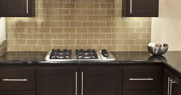 Champagne Glass Subway Tile Grey Kitchen Walls Subway