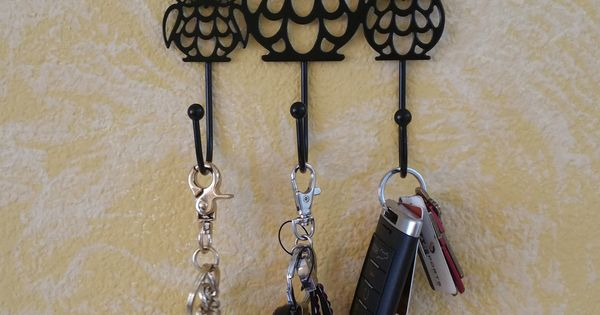 Black Metal Cut Out Owl Family Wall Hook Key Holder Wall