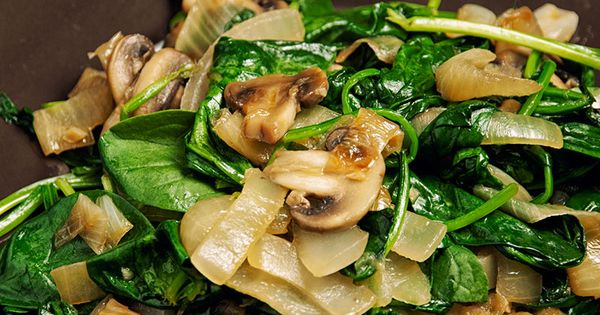 Sautéed spinach and caramelized onions - a great side dish to pair