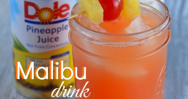Malibu drink -- 1 small can of pineapple juice, 1 ounce of