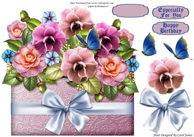 Sweetmeal Digestive Biscuits Birthday Quick Card n decoupage by Carol Clarke