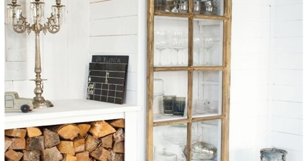 Old window recycled as a kitchen cupboard door