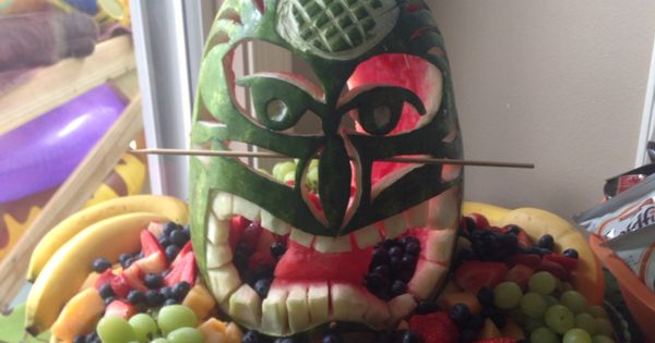 Carved Watermelon Tiki Man Luau Pool Party Pinterest