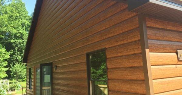 Red Cedar Trulog Siding With Autumn Brown Trim Log Siding Steel Siding House Siding