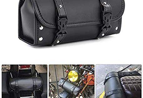 Universal Motorcycle Bike Rivet Tail Tool Sissy Bar Bag Saddle Luggage Black PU