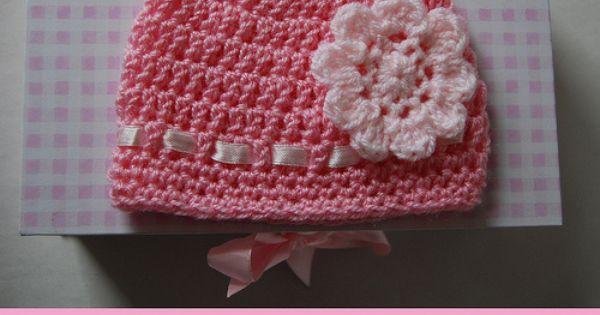 Crochet Baby Hat With Ribbon Pattern : Crochet Baby hat Patterns Pink flower and ribbon Crochet ...