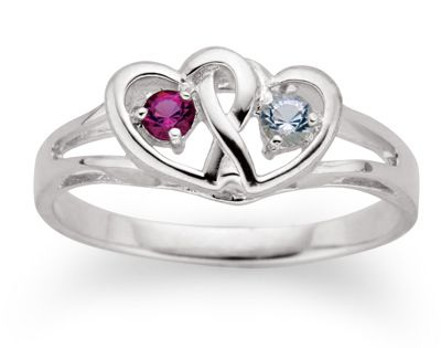 Sterling Silver Interlocked Hearts Couples Birthstone Ring