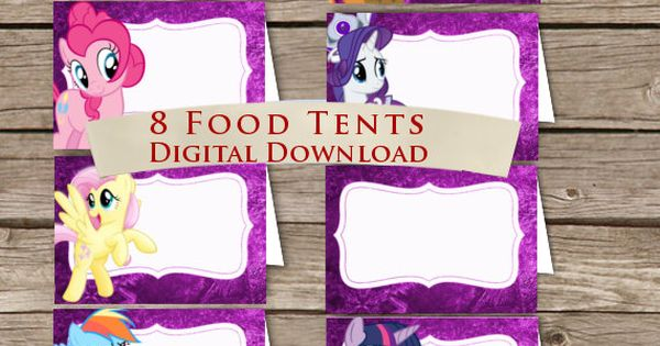 My Little Pony Food tents! Place Holders! Digital download! My little Ponys
