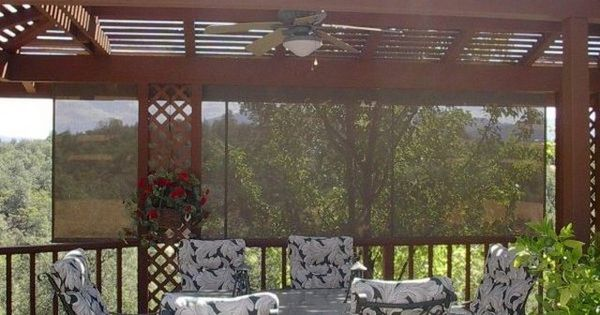 Metal Framed Pergola With Roll Up Sun Shade For Deck Diy