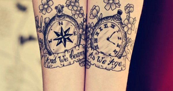Compass and Watch Matching Tattoos - 70 Lovely Matching Tattoos | Art
