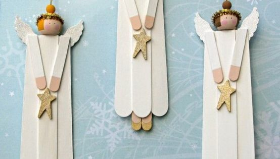 Kids Christmas craft - popsicle stick angel ornaments