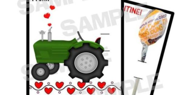 Tractor Valentine Cards : Farmer green tractor valentines day card holds lollipop