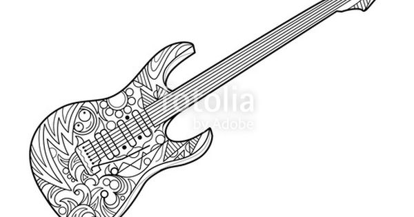 Electric Guitar Coloring Page For Adults Horse Coloring Pages Coloring Books Music Coloring