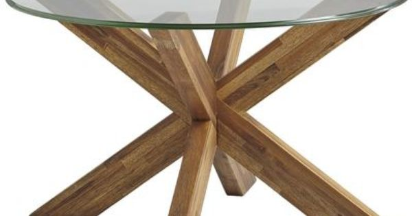 Simon X Coffee Table Java With 36 Round Glass Top 180 X