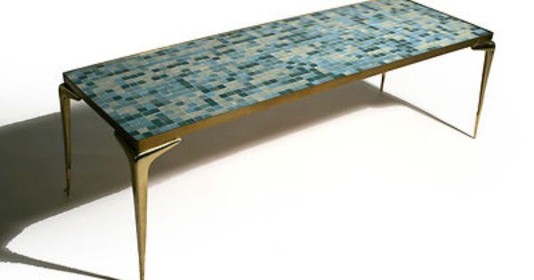 50 S Mid Century Modern Italian Brass Mosaic Tile Coffee Table