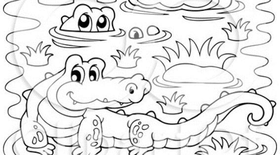 Crocodiles In A Swamp Coloring Page Free Printable