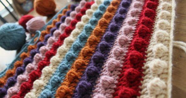 Ribbons Undone: Crochet Popcorn Stitch AFGHAN Pinterest Mom, Stitches a...