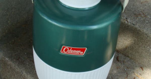 Vintage 1970s Coleman Round Green Thermos Cooler Pat